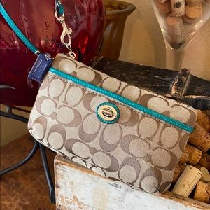 Coach jacquard fabric leather trimmed wristlet